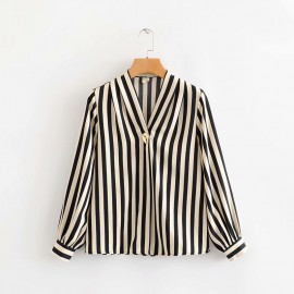 V-Neck Stripe Blouse