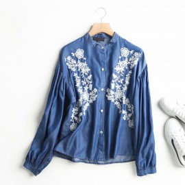 Embroidered Denim Blouse