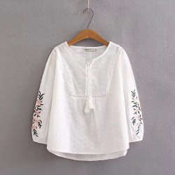 LM+ Floral Embroidered Sleeve Blouse