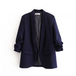 Collared Blazer with Ruched Sleeves