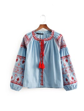 Denim Embroidery Blouse