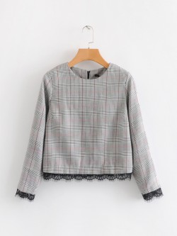 Gingham Lace Hem Top