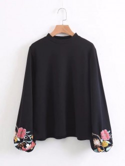 Floral Sleeve Pullover