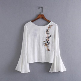 Embroidered Blouse with Open Back (3 Color)