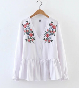 Embroidered Babydoll Blouse
