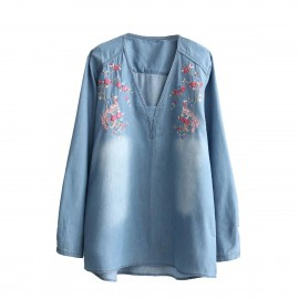 Floral Denim Blouse