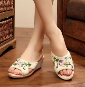 Floral Embroidered Wedges