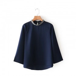Sequin Collar Top Blue