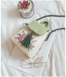 Floral Embroidered Bag with Tassel