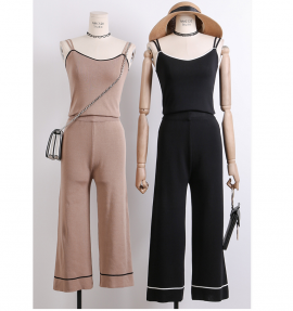 Knit Top and Pants Set (Khaki)
