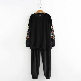 LM+ Floral Sleeve Top and Pants Set