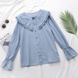 Pan Collar Denim Blouse