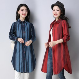 MIRA Stripe Tunic Shirt (Red)