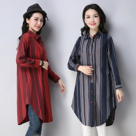 MIRA Stripe Tunic Shirt (Grey)