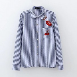 Stripe Shirt with Graphic Badge