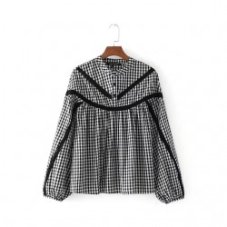 Gingham Blouse with Sheer Panel
