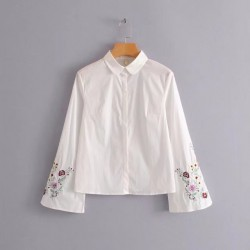 Floral Embroidery Sleeve Shirt