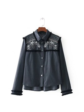 Embroidered Sequin Shirt