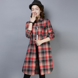 MIRA Long Checkered Shirt