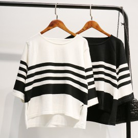 Stripe Knit Pullover (White)