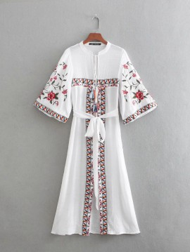 Long Embroidered Cardigan