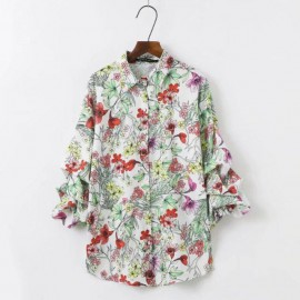 Floral Shirt with Ruched Sleeves