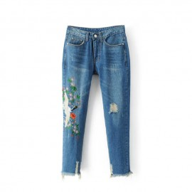 Bird Embroidered Jeans