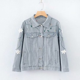 LM+ Floral Embroidered Denim Jacket