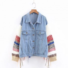 Denim Jacket with Combination Sleeves