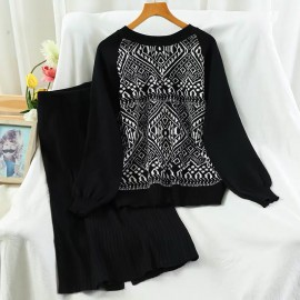 Motif Top and Skirt Set
