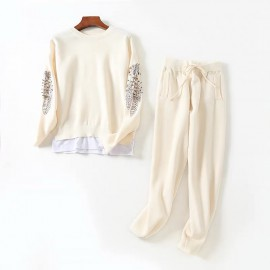 Embroidered Sleeve Top And Pants Set