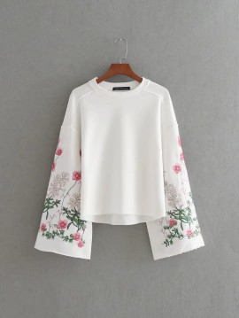 Pullover with Embroidered Sleeves