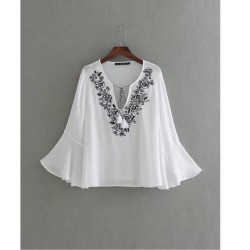 Embroidered Flare Top