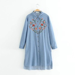 Floral Embroidered Denim Tunic