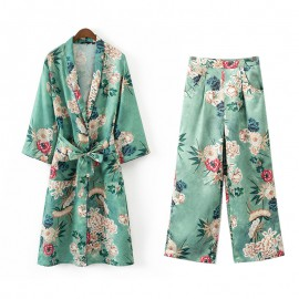 Floral Kimono Cardigan and Pants Set