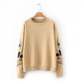Embroidery Sleeve Pullover