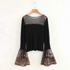 Embroidery Sleeve Top