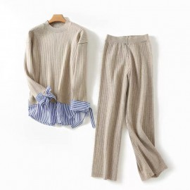 Combination Knit Blouse And Pants Set