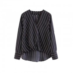 Pinstripe V-Neck Blouse