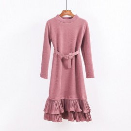 Knit Dress with Layered Hem