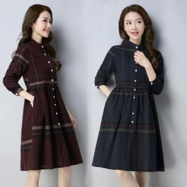 MIRA Checkered Dress (Maroon)