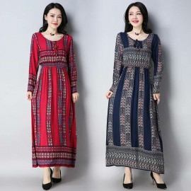 MIRA  Tribal Dress (Blue)