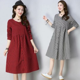 MIRA Gingham Dress (Red)