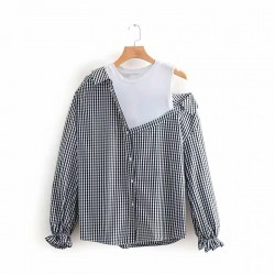 Off-Shoulder Combination Shirt