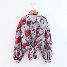 Floral Print Shirt with Sash