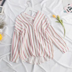 Stripe V-Neck Blouse