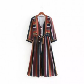Stripe Motif Dress