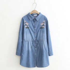 LM+ Floral Embroidered Denim Dress