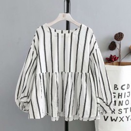 LM+ Stripe Babydoll Top