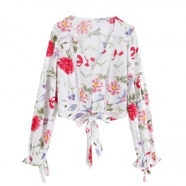 Floral Top with Knot
